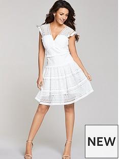 michelle-keegan-tiered-geo-lace-dress