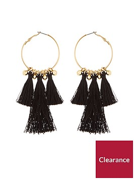 v-by-very-black-tassel-hoop-earrings