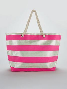v-by-very-metallic-stripe-beach-bag-silverpink