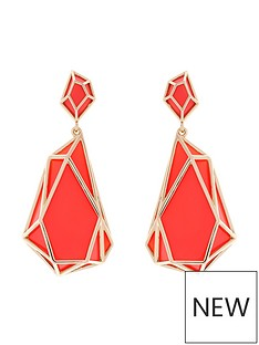 karen-millen-karen-millen-colour-shard-statement-drop-coral-earrings