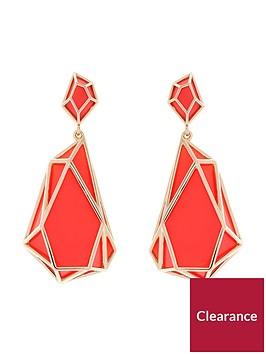 karen-millen-karen-millen-colour-shard-statement-drop-coral-earrings