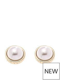 karen-millen-gold-logo-pearl-earrings
