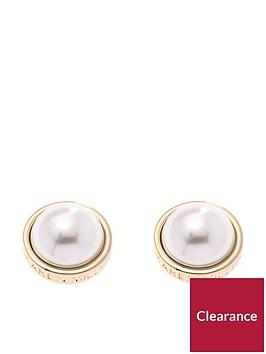 karen-millen-gold-logo-pearl-earrings