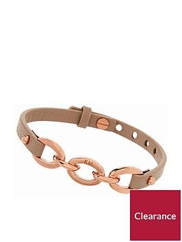 karen-millen-chain-link-leather-leather-bracelet--nbsprose-goldtaupe