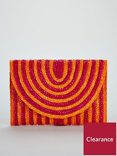 v-by-very-colour-pop-stripe-straw-clutch-bag