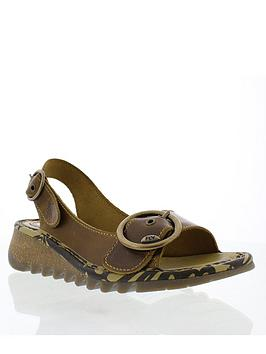 Fly London Fly Tram723Fly Leather Low Wedge Sandal