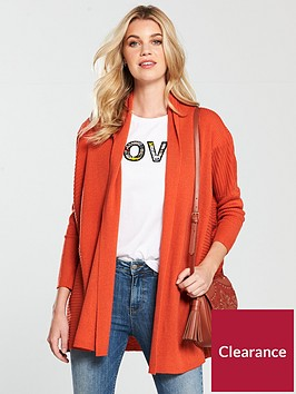 v-by-very-shawl-collar-rib-cardigan-paprika