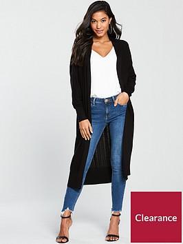 v-by-very-pointelle-stripe-longlinenbspcardigan-black