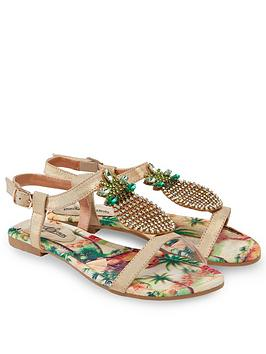 joe-browns-flat-strappy-sandals-with-jewelled-pineapple-t-bar-gold