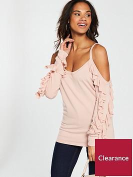 v-by-very-cold-shoulder-frill-sleeve-jumper-blush