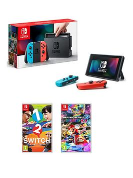 nintendo-switch-neon-console-with-mario-kart-8-deluxe-and-1-2-switch