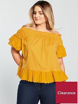 v-by-very-curve-jersey-cotton-hem-bardot-top-yellownbsp