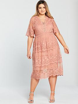 v by very curve mesh embroidered midi dress