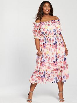 v by very curve bardot midi dress - floral print