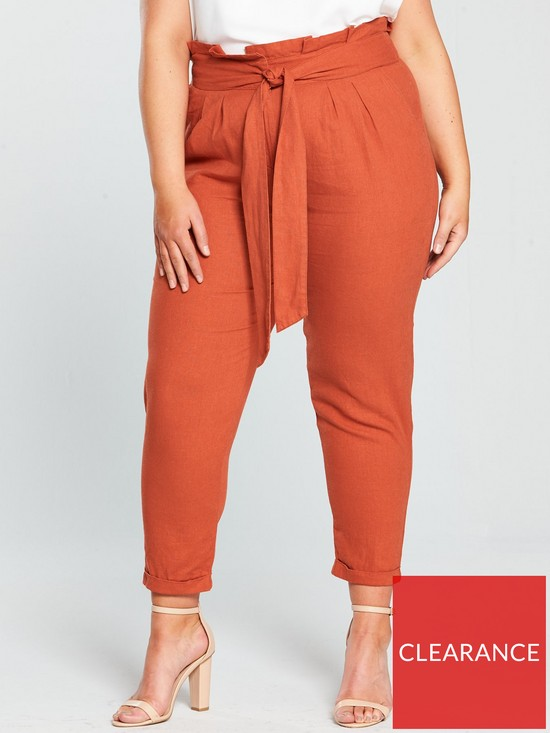b79186fd2af4e V by Very Curve Linen Tapered Leg Trouser