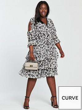 v-by-very-curve-ruffle-cold-shoulder-ladder-trim-dress