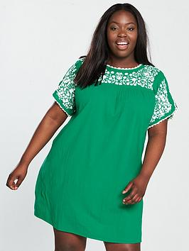 v by very curve embroidered crinkle tunic dress - jade