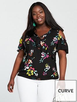 v-by-very-curve-floral-cold-shoulder-blouse
