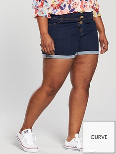 v-by-very-curve-high-waisted-denim-short-blue-wash