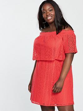 v by very curve lace bardot dress - orange