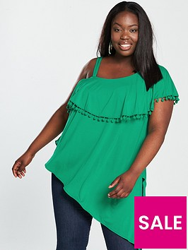 v-by-very-curve-one-shoulder-jersey-top-green
