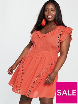 v-by-very-curve-eyelet-detail-crinkle-dress-orange