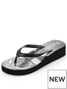 e8f13b3a2571 Calvin Klein Tesse Wedge Flip Flop Sandal - Black