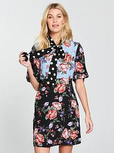 v-by-very-mixed-print-bow-tie-tunic-dress