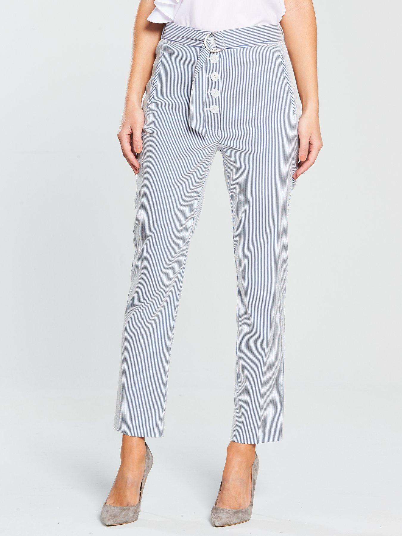 V by Very Button Front Stripe Crop Trouser