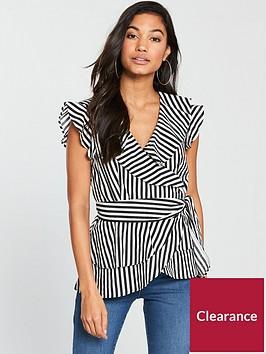 v-by-very-pruffle-wrap-top-blackwhite-stripep