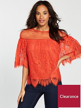 v-by-very-spot-mesh-lace-top-orange