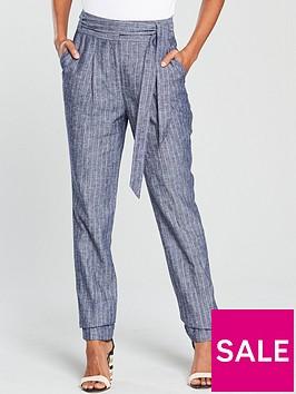 v-by-very-tapered-leg-linen-trouser-blue-stripenbsp