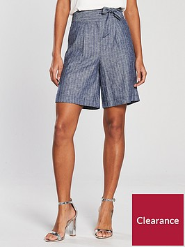 v-by-very-linen-striped-short-blue