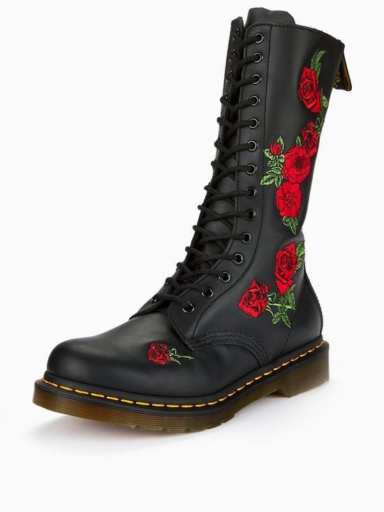 c81c62395ce Vonda Embroidered 14 Eye Boots - Black