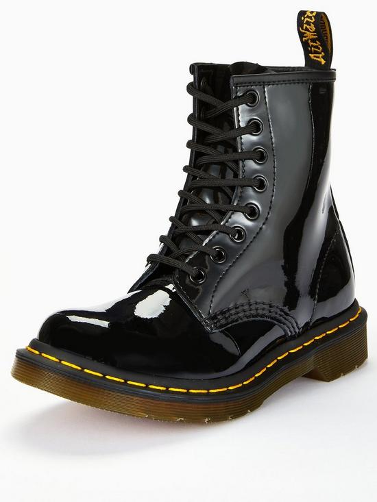 937fd9e03a6 Dr Martens 8 Eye Patent Ankle Boots - Black   very.co.uk