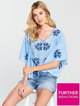 v-by-very-angel-sleeve-embroidered-shirt-blue