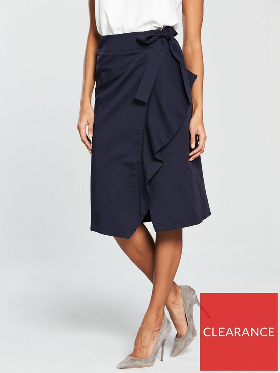 f58dc162e5ce V by Very Cotton Tie Wrap Skirt - Navy | very.co.uk