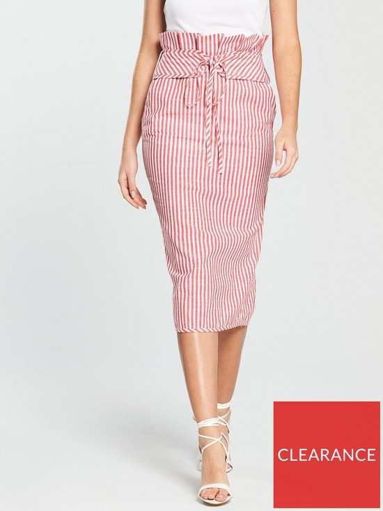 1112a8590c V by Very High Waisted Pencil Skirt - Red Stripe | very.co.uk