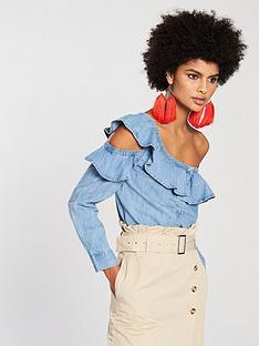 v-by-very-deconstructed-one-shoulder-ruffle-denim-shirt-bluenbsp