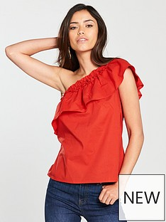 v-by-very-frill-one-shoulder-top-red