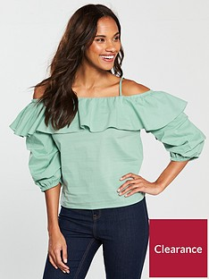 v-by-very-volume-sleeve-cold-shoulder-top-mint