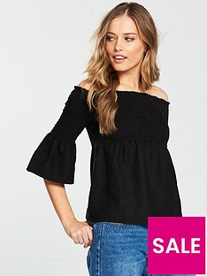 v-by-very-shirred-linen-bardot-top-black