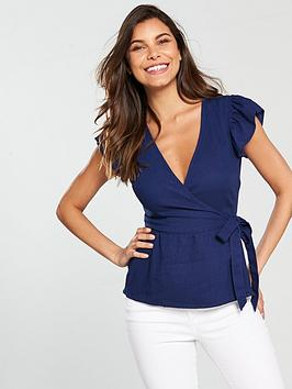 v-by-very-linen-wrap-top-navy