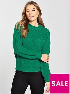 v-by-very-collar-detail-pleat-sleeve-rib-jumper-green