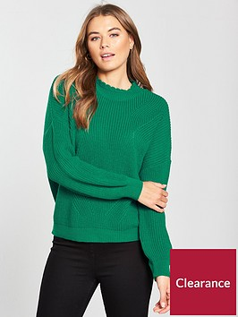 v-by-very-collar-detail-pleat-sleeve-rib-jumper-green