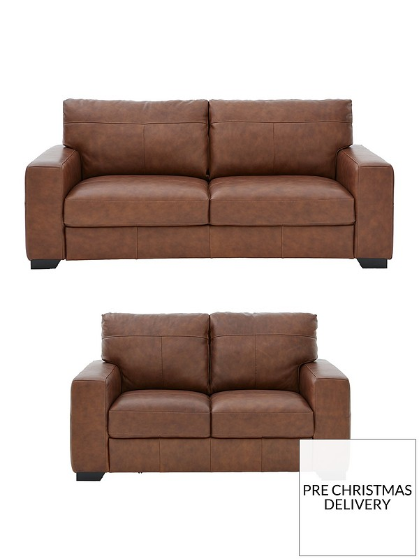 Hampshire 3 Seater + 2 Seater Italian Leather Sofa Set (Buy and SAVE!)