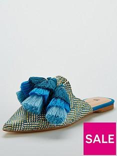 v-by-very-riri-tassel-pointed-mule-blue