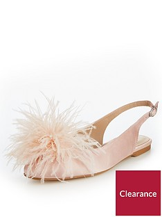v-by-very-apple-feather-trim-flat-slingback-blush
