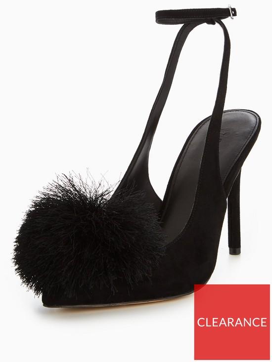 aca9a171e V by Very Roma Pom Pom Heeled Court Shoe - Black | very.co.uk