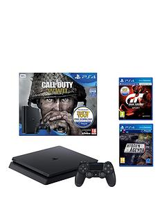 playstation-4-call-of-duty-wwii-500gb-jet-black-bundle-with-gran-turismo-sport-and-hidden-agenda
